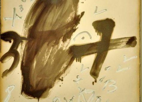 Fondo marrón y números. Antoni Tàpies